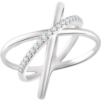 14K White 1/6 CTW Diamond Criss Cross Ring