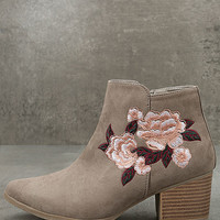 Feronia Taupe Suede Embroidered Ankle Booties