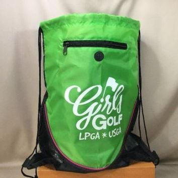 LPGA USGA 'Girls Golf' Drawstring Backpack/Tote/Bag Black/Green