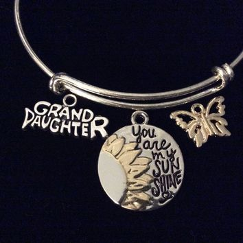 You Are My Sunshine Granddaughter Adjustable Bracelet Silver Expandable Charm Bracelet Bangle Grand Daughter Gift