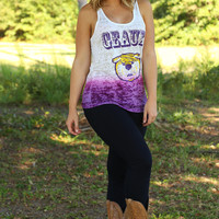 Judith March: Geaux Tigers Tank Top: White/Purple Ombre