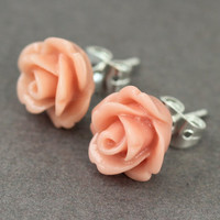 Flower Stud Earrings : Vintage Pink Dusty Rose Flower Stud Earrings, Sterling Silver Plated Earring Posts, Fun