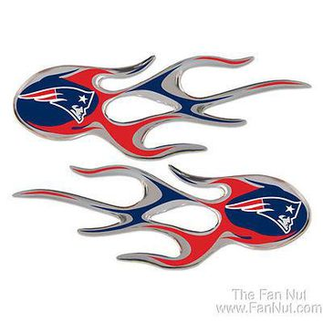 New England Patriots 2-pack Micro Flames Auto Decal Flame Football