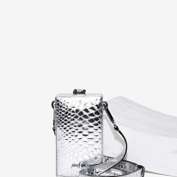 Nasty Gal Over 'N Out Vegan Leather Trunk Bag - Silver