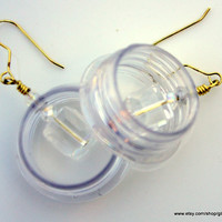 Contemporary Recycled Plastic Earrings, Nickel free, Suspended Crystal, modern
