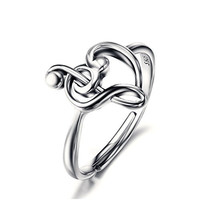 Sterling Silver Treble Clef Bass Heart Music Note Ring For Women (Resizable Ring)