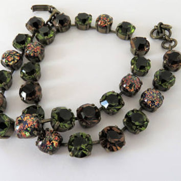 Vintage French, Green And Brown, Cabochon Necklace