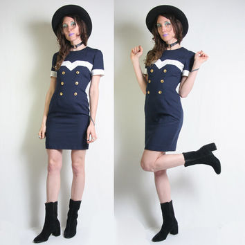 Sailor Dress - 80s Dress - Tailored Dress - Mini Dress - Donna Ricco - 90s Dress - Size Small - Navy Blue Dress  Vintage Womens Sailor Dress