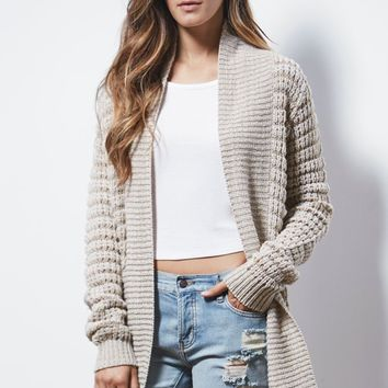 Say What Ribbed Open Front Cardigan - Womens Sweater