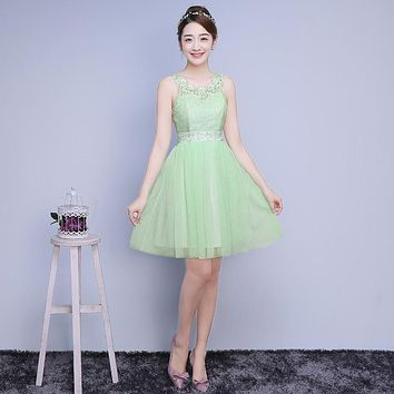ZXC2LS#Model show 2016 new spring bridesmaids dresses short wedding bridesmaid dress sisters graduation toastp dress Green