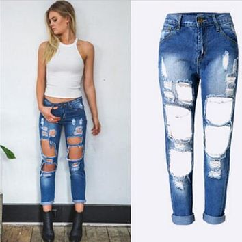 Women's Ripped Jeans in 6 Colors