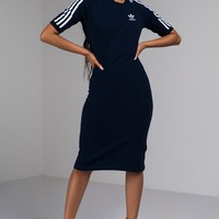 Adidas Three Stripes Dress in Collegiate Navy White