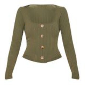 Khaki Long Sleeve Rib Button Detail Top