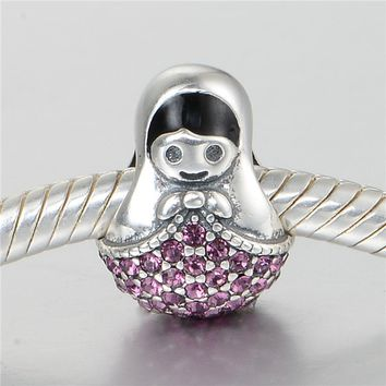 GW Russia Doll Charms beads made from 925 sterling silver fit pandora style bracelets for wo toys jewelry No70 lw D127