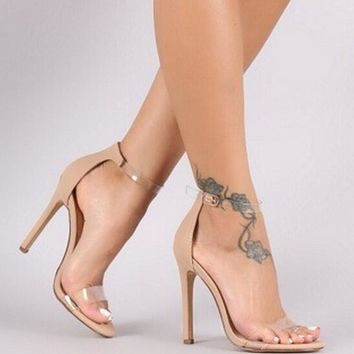 2018 summer bride party female sexy thin high heels women pumps ladies shoes woman ankle strap sandals nude clear PL17914