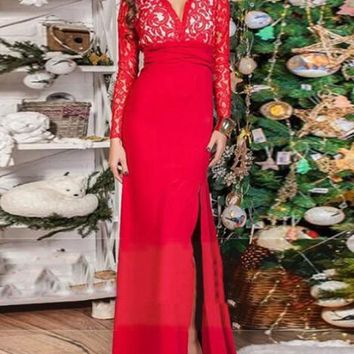 New Red Patchwork Lace Irregular Slit Deep V-neck Backless Prom Evening Party Maxi Dress