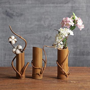 Bamboo Flower Vase Home Decor