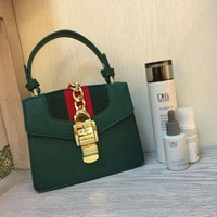 One-nice™ Gucci Women Leather Shoulder Bag Tote Handbag Green I