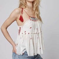 Embroiderd Washed Sun Top - Tops - Clothing