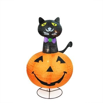 "36"" Pre-Lit Orange and Black Cat on a Pumpkin Halloween Yard Art Decoration"