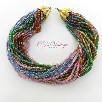 Multi Strand Glass Seed Bead Bracelet / Torsade Multi Color Bracelet