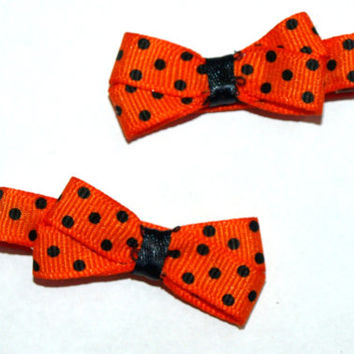 Orange and black polka dot hair bows- Halloween hair clips- pigtail clippies