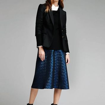 Blue Metallic Jacquard Midi Skirt