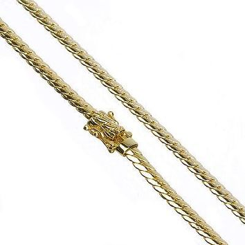 """Jewelry Kay style Men's 14K Gold Plated 5 mm 26"""" Miami Cuban Link Chain Necklace Clasp Safety Lock"""