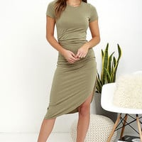Capital City Washed Olive Green Midi Wrap Dress