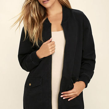 Light Beam Black Oversized Bomber Jacket
