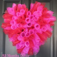 Hot Pink & Red Spiral Deco Mesh Heart Wreath, Spring Easter, Party, Teacher Classroom Decoration, Valentines Day Gift