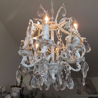 Chandelier lighting French blue w/ white rusty distressed shabby cottage chic ceiling fixture with crystals and pearls anita spero design