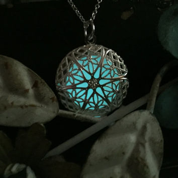 Glow in the Dark Jewelry, Glow Necklace, GIFT for Daughter, Sterling Silver, Glowing Necklace, Aqua Glow, Aqua Glowing Necklace, Christmas