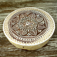 Indian Printing Block, Flower Leaf Stamp, Hand Carved Wood Stamp, Large Round Wooden Circle Stamp, Ceramics Textile Pottery, India Decor
