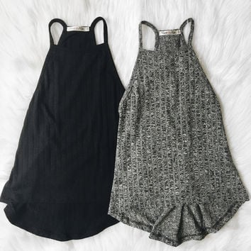 Clarissa Ribbed Cami Tank (Black, Heather Gray)
