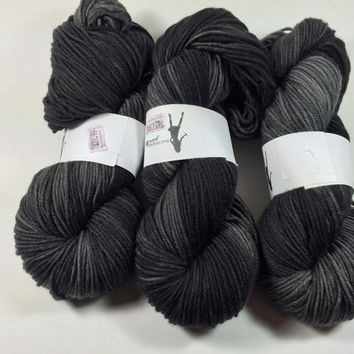Light Worsted, DK, Superwash Merino, 100 grams, Hand Dyed Yarn, Charcoal, double knitting, spring yarn, dk weight