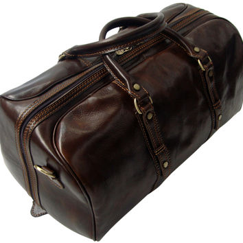 Genuine Italian Leather Holdall Dark Brown Available in 3 Sizes 3 Colours