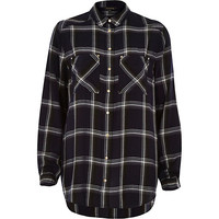 River Island Womens Navy check boyfriend patch pocket shirt