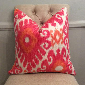 Handmade Decorative Pillow Cover - Jaclyn Smith Ikara Blend Redbud - Hot Pink - Orange - Ikat