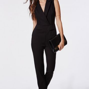 Missguided - Sheer Back Tuxedo Style Jumpsuit Black