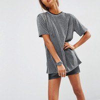ASOS T-Shirt in Metallic with Stripe Tipping at asos.com