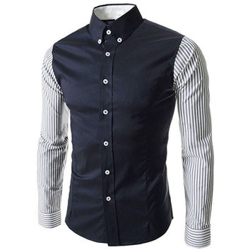2017 Cotton High Quality Mens Button Down Casual Shirt Slim Fit