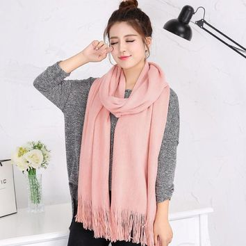 Autumn Winter Luxury Brand Scarf Female Best Quality Wool Cashmere Scarf Tassels Women Thick Warm  Long Wrap