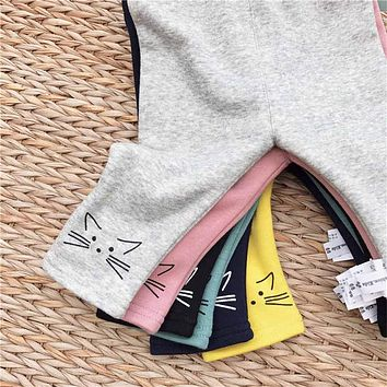 Hot Sale Children Pants Warm Winter Newborn Baby Boy Girls Cat Printed Trousers Kids Clothes Casual Brushed Leggings A685
