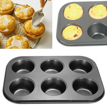 Brand New 6 Cups DIY Baking Tools Non-stick Steel Cupcake Mold Egg Tart Baking Tray Dish Muffin Cake Mould Biscuit Pan Bakeware