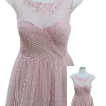 Adrianna Papell Sleeveless Formal Dress in Light Pink with Tulle and Sheer Netting Neckline - Fits Size Medium