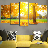 5Panel Wall Painting Autumn Sun Shine Leaves Canvas Modular Art Picture Home Decor Living Room Posters Print Paintings Unframed