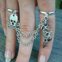 mermaid and pirate chained double ring  mermaid and skull double slave ring in fantasy hipster boho gypsy hippie and pirate  style