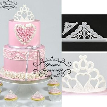 Yueyue Sugarcraft Crown 2pcs/Set plastic fondant cutter cake mold fondant mold  fondant cake decorating tools sugarcraft