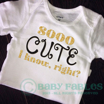 So cute I know right bodysuit gold glitter baby shirt baby girl glitter tee glitter shirt Gold Glitter Princess Trendy Hipster Hot Pink Bow